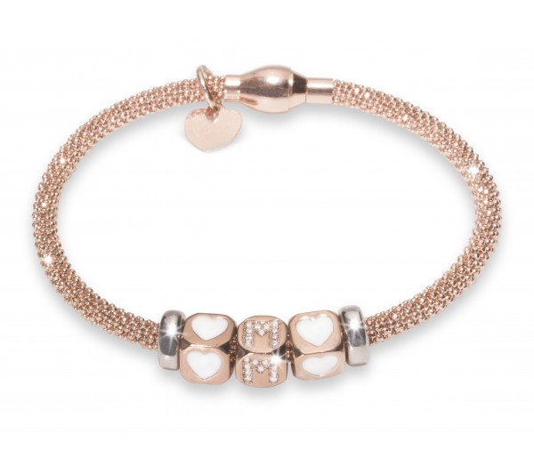 Bracciale argento rosè - Cuori + M