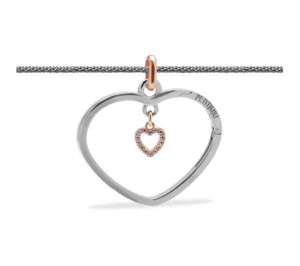 Collana lunga argento con ciondolo argento e cuore rosè