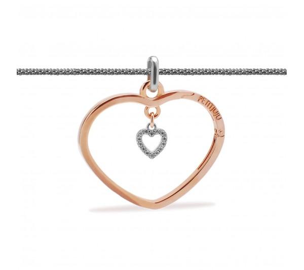 Collana lunga argento con ciondolo rosè e cuore argento
