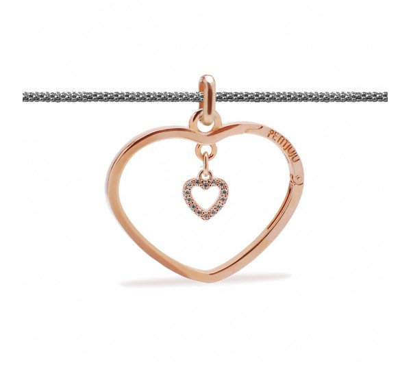 Collana lunga argento con ciondolo rosè e cuore rosè