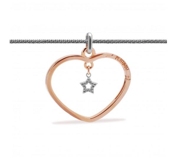 Collana lunga argento con ciondolo rosè e stella argento