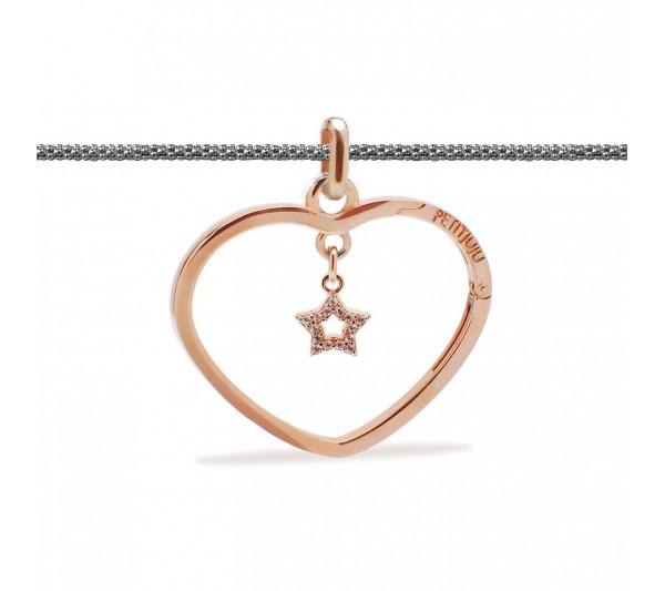 Collana lunga argento con ciondolo rosè e stella rosè