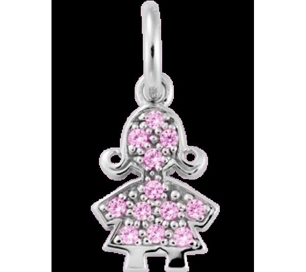 Bambolina argento zirconi rosa