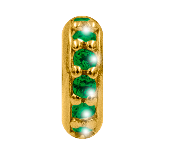Rondella argento dorato zirconi verdi