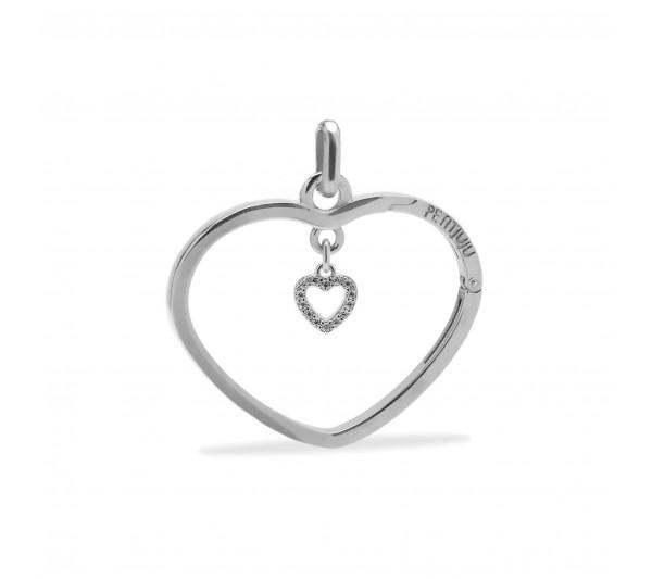 Ciondolo cuore argento con cuoricino argento