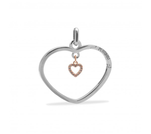 Ciondolo cuore argento con cuoricino rosè