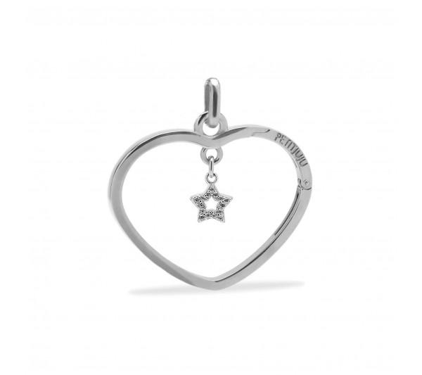 Ciondolo cuore argento con stella argento