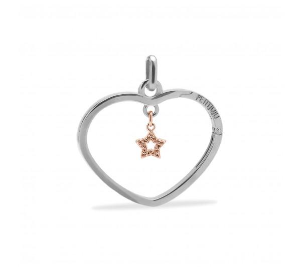 Ciondolo cuore argento con stella rosè