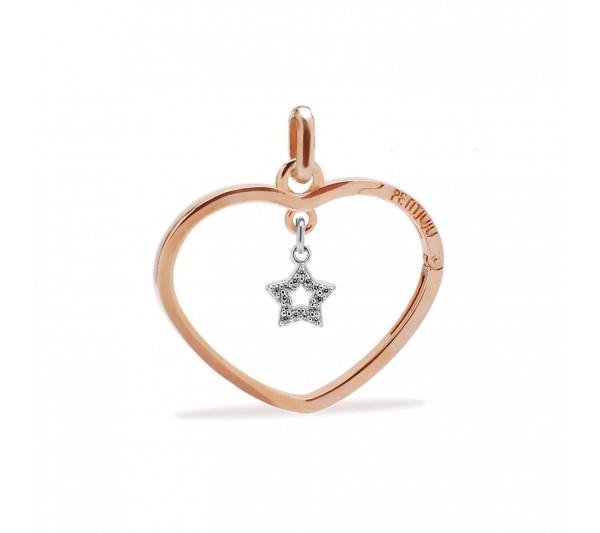 Ciondolo cuore rosè con stella argento