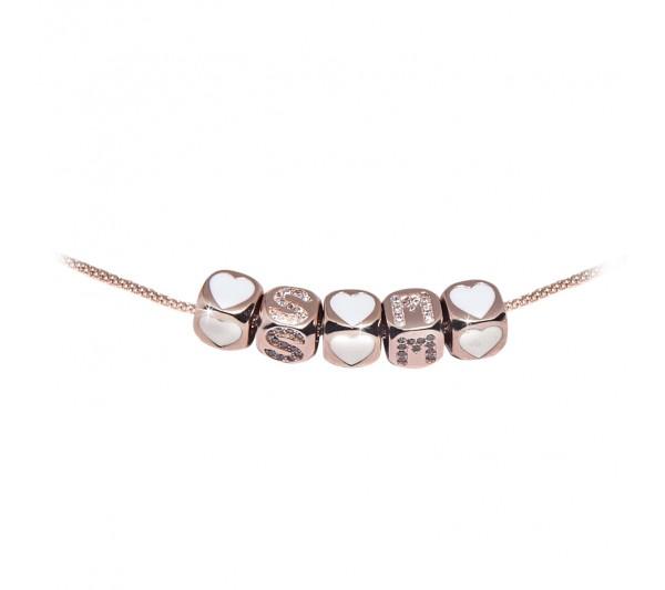 Collana argento rosè - S + M + Cuore
