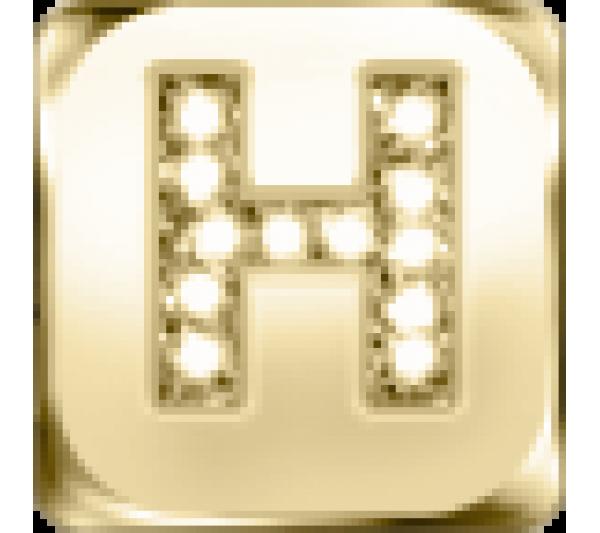 Lettera H  - argento dorato