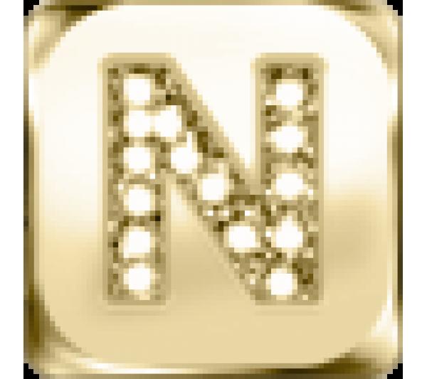 Lettera N  - argento dorato