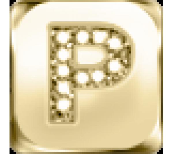 Lettera P  - argento dorato
