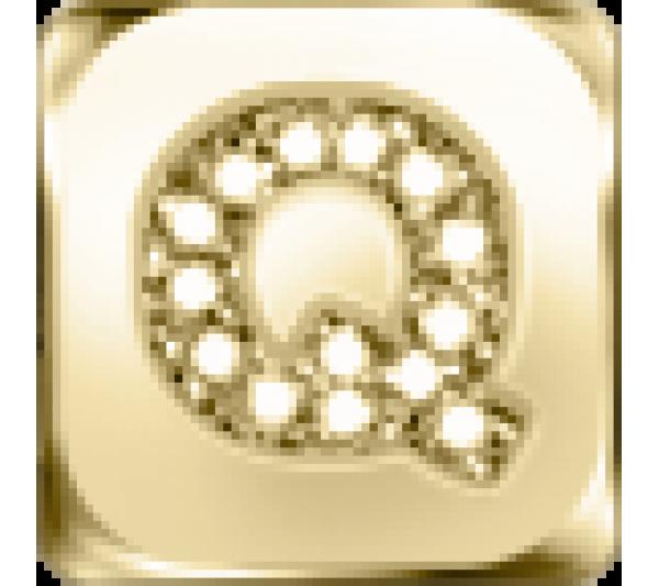 Lettera Q  - argento dorato