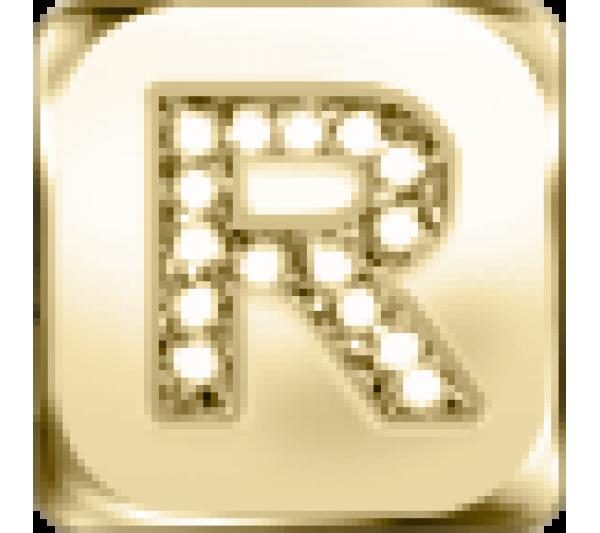 Lettera R - argento dorato