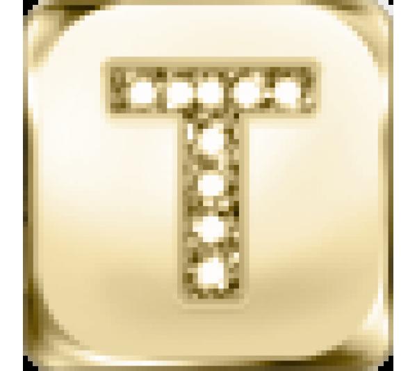 Lettera T  - argento dorato