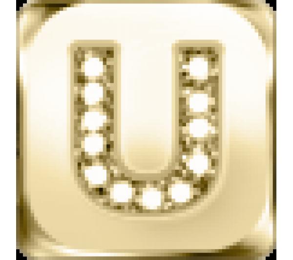 Lettera U  - argento dorato