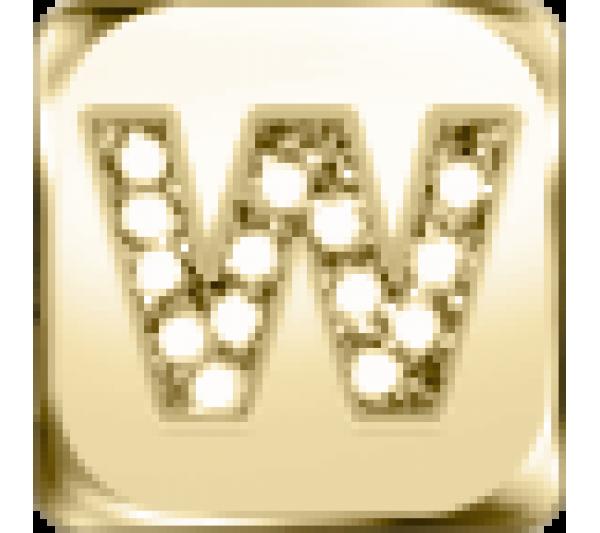 Lettera W  - argento dorato