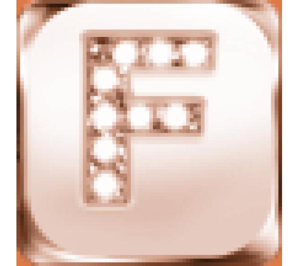 Lettera F  argento rosè