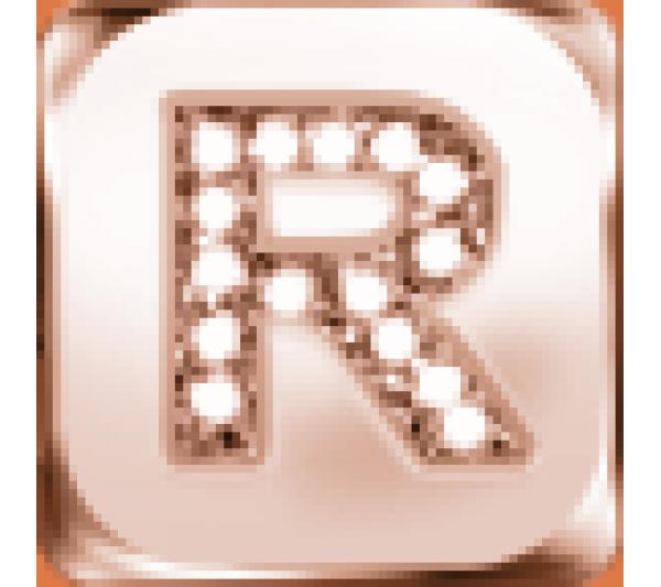 Lettera R  argento rosè