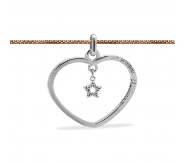 Collana lunga rosè con ciondolo argento e stella argento