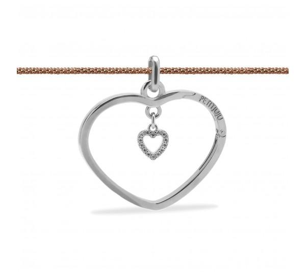 Collana lunga rosè con ciondolo argento e cuore argento