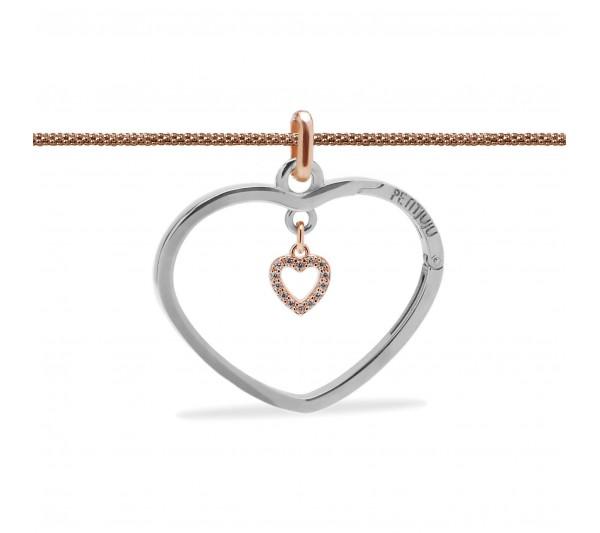 Collana lunga rosè con ciondolo argento e cuore rosè