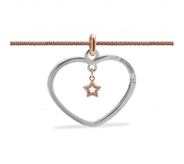 Collana lunga rosè con ciondolo argento e stella rosè