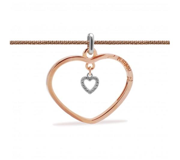 Collana lunga rosè con ciondolo rosè e cuore argento